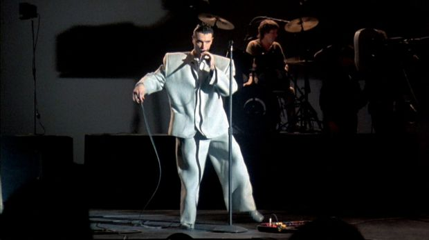 David Byrne in a scene from the Talking Heads music documentary Stop Making Sense