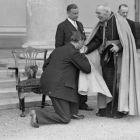 Eamon de Valera kisses the ring of  the Archbishop of Dublin, Edward Joseph Byrne  at the Vice Regal Lodge, Phoenix Park, Dublin, in 1933. Photograph: Keystone/Getty Images