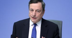 "European Central Bank president Mario Draghi: ""Downside risks"" have diminished. Photograph: AFP"