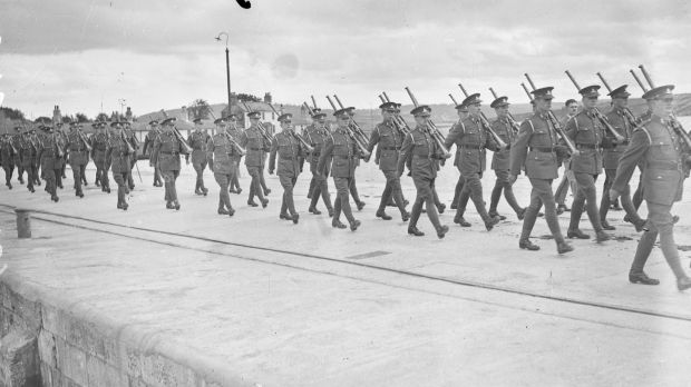 British troops evacuating Spike Island in 1938 for its handover to the State. Photograph: National Library of Ireland/Irish Independent/NPA collection