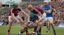 Galway's Niall Burke and Conor Whelan pressurise  Cathal Barrett of Tipperary during the league final at the Gaelic Grounds. Photograph: Morgan Treacy/Inpho