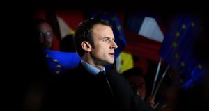 French election candidate Emmanuel Macron giving a speech during a meeting in Arras on Wednesday. Photograph: Eric Feferberg/AFP/Getty Images