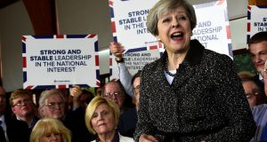 Theresa May at the Brackla Community Centre, in Bridgend, Wales, this week: a bigger majority could give her more leeway in negotiations with the EU. Photograph: Rebecca Naden/Reuters