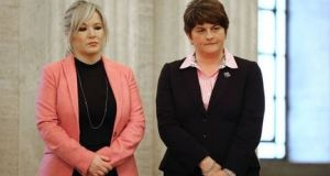 Sinn Féin's Michelle O'Neill and DUP leader Arlene Foster. Sinn Féin has repeatedly said it will not support the DUP nominating  Ms Foster as first minister while the RHI inquiry is under way.