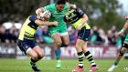 Bundee Aki in action during the Guinness Pro 12 game against Leinster at the Sportsground. Photograph: Ryan Byrne/Inpho