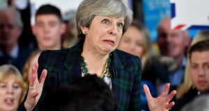 British prime minister Theresa May speaks to supporters at an election campaign  in Leeds on Thursday. Photograph:  Anthony Devlin/Getty Images