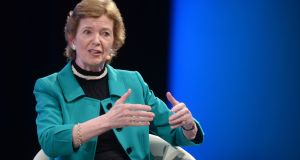 Former president Mary Robinson:  said Ballina would benefit from having a centre that could attract visitors and academics and could promote issues  such as human rights, women's leadership and climate justice. Photograph: Dara Mac Dónaill