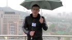 Weatherman startled by nearby lightning strike