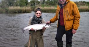 Sophie Berthommier from France with a lovely 4.7kg Moy salmon, guided by Paddy McDonnell
