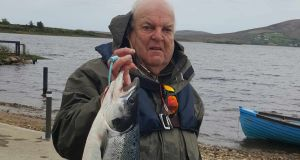 Rory Harkin of Rory's Tackle Shop, Temple Bar, with his 6.8kg springer caught on a cascade shrimp fly at Carrowmore Lake
