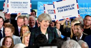 Britain's prime minister Theresa May speaks to supporters at a campaign event at Shine Centre in Leeds on Thursday evening. Photograph: Anthony Devlin/Reuters