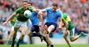 Philly McMahon in action for Dublin in the Allianz Football League Division One Final against Kerry at  Croke Park. Photograph: James Crombie/Inpho