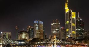 Frankfurt at night. Bankers  say the city  is set to win the most business post-Brexit following a discreet  German campaign to promote the financial centre of Europe's biggest economy. Photograph: Getty Images