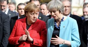 Germany's chancellor Angela Merkel and British prime minister Theresa May: There is a complete lack of clarity over whether Ms May's government is willing to make the kind of concessions which would make a softer Brexit possible. Photograph: Matthew Mirabelli/AFP/Getty