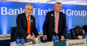 Bank of Ireland chief financial officer Andrew Keating and chief executive Richie Boucher at the bank's EGM in Dublin on Friday. Photograph: Brenda Fitzsimons