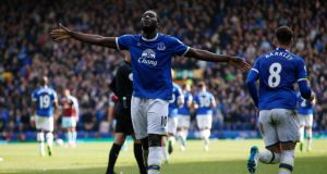 Everton striker Romelu Lukaku celebrates scoring club's third goal against Burnley earlier this month. Photograph:   Andrew Yates/Reuters