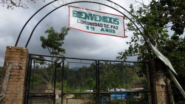The entrance to the Peace Community of San José de Apartadó, a community that has declared its neutrality and rejected the presence of all armed groups in its territory, on March 2nd, 2017 in Urabá region, northwest Colombia. Photograph: Julieta Aponte