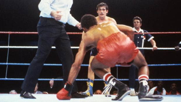 McGuigan downs Pedroza to win at Loftus Road in 1985. Photo: Billy Stickland/Inpho