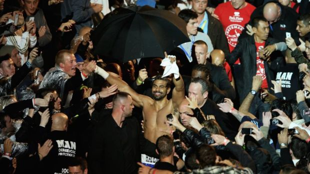 Haye walks to the ring ahead of his bout with Chisora at Upton Park. Photo: Getty Images