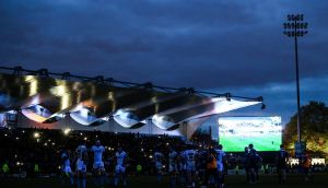 Darkness in the RDS after the floodlights failed during Leinster's Pro12 win over Glasgow. Photo: Tommy Dickson/Inpho