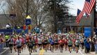 Runners from wave four cross the starting line for the 121st running of the Boston Marathon in Hopkinton, Massachusetts on April 17th. Photo: Lisa Hornak/Reuters