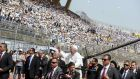 Pope Francis arrives to lead a Mass at the Air Defence Stadium in Cairo, Egypt. Photograph: Mohammed Hossam/EPA