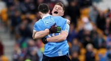 Dublin joint captain Con O'Callaghan (right) celebrates with Stephen Smith after their victory over Galway in the EirGrid  All-Ireland U21 Football Final at O'Connor Park in Tullamore. Photograph: Tommy Dickson/Inpho