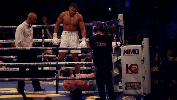 Anthony Joshua defeats Wladimir Klitschko by stoppage in the 11th round of their world heavyweight champion fight at Wembley Stadium in London. Photograph: Sean Dempsey/EPA