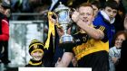 Dr Crokes's Johnny Buckley lifts the All-Ireland senior club football championship cup in Croke Park in March. Photograph: Donall Farmer/Inpho