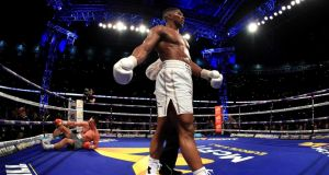 Anthony Joshua cemented his status as the world's best heavyweight as he stopped Wladimir Klitschko at Wembley on Saturday night. Photograph: Richard Heathcote/Getty