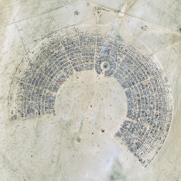 A satellite image of the Burning Man festival in 2012. This image is the winner for the 2012 Top Image contest. Photograph: DigitalGlobe via Getty Images