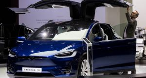 Tesla model X:  electric car maker opened its first Irish store last week. Photograph:  Vincent Isore/IP3/Getty Images