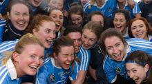 Dublin players celebrate winning the Division 3 Camogie League final after coming back in the second half to beat Roscommon. Photograph: Tom Beary/Inpho