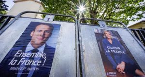 Polls predict Emmanuel Macron will win the May 7th run-off with about 60 per cent, but recent momentum has  been with Marine Le Pen, who clawed back about five percentage points in the past week. Photograph: Robert Pratta/Reuters