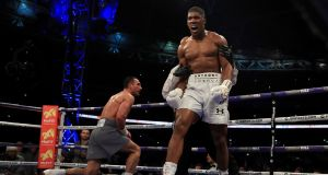 Anthony Joshua stopped Wladimir Klitschko in the 11th round at Wembley. Photograph: Richard Heathcote/Getty