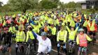 The Willow Wheelers peloton prepare for the 160km charity cycle. Photograph: Cyril Byrne