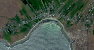 A Google Earth view from 2015 showing the rocky  beach at Dooagh, Achill with no sand.