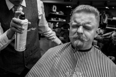 Bemol Piotrowski, Co Clare, has his beard and moustache groomed at The Basement Barber in Ennis on the morning of the event.