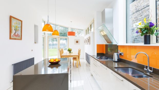 18 Castlewood Avenue in Rathmines: an extension added a kitchen and breakfast area.