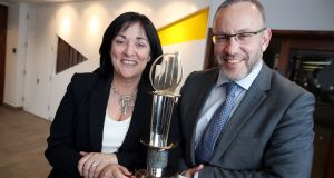 Anne Heraty, chief executive CPL Resources and chairwoman of the judging panel for the EY Entrepreneur of the Years awards with Kevin McLoughlin, EU partner lead for the Entrepreneur of the Year programme at the announcement of the shortlist for this year's awards.