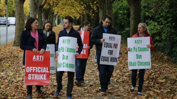 Striking ASTI members last November at Dominican College, Griffith Avenue, Dublin. Photograph Nick Bradshaw