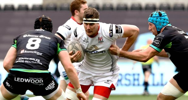 Robbie Diack in action during Ulster's costly defeat to  Ospreys  at the Liberty Stadium. Photograph: Simon King/Camerasport/Inpho