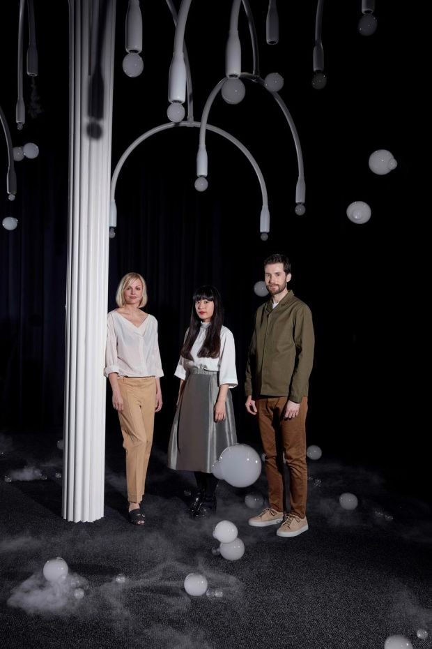 Karin Gustafsson, creative director of Cos, and Azusa Murakami and Alexander Groves of Studio Swine with New Spring in Milan