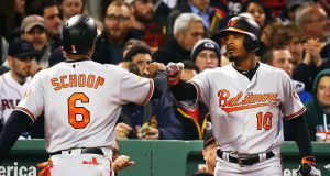 Jonathan Schoop is congratulated by   Adam Jones after scoring in the fifth inning of the Baltmore Orioles' win over    the Boston Red Sox at Fenway Park on Monday. Photograph: Adam Glanzman/Getty Images