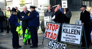 A Border Communities Against Brexit protest at Government Buildings highlighted some of the issues facing the State. Photograph: Cyril Byrne