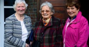 Past pupils at Mount Carmel School: Maureen Gallagher, left, with Christine Condell and Kathleen Breadon. Photograph: Cyril Byrne