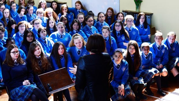 Students at Mount Carmel School in Dublin listening to Cathriona Hallahan from Microsoft at the opening of the school extension. Photograph: Cyril Byrne