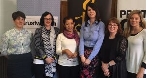 Regina Fonseca (centre) with members of Front Line Defenders, Amnesty and Alliance for Choice in Belfast. Photograph: Front Line Defenders