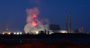 "Plumes  coming from the new incinerator at Poolbeg. ""No waste has been burned, no smoke emitted,"" said a spokesman for US operator Covanta. Photograph: Dara Mac Dónaill"
