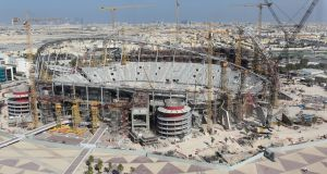A   view of cranes and building works during the construction of the Khalifa International Stadium in  Doha, the venue for the Fifa World Cup final in 2022. Photograph: Getty Images
